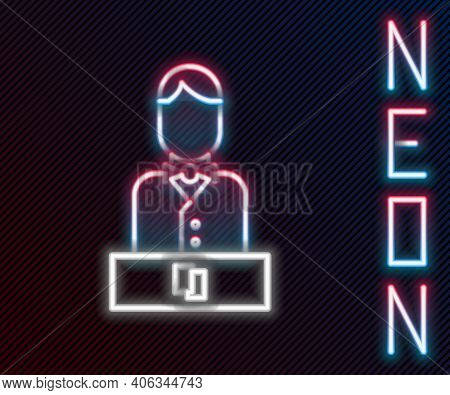 Glowing Neon Line Casino Dealer Icon Isolated On Black Background. Casino Croupier. Colorful Outline