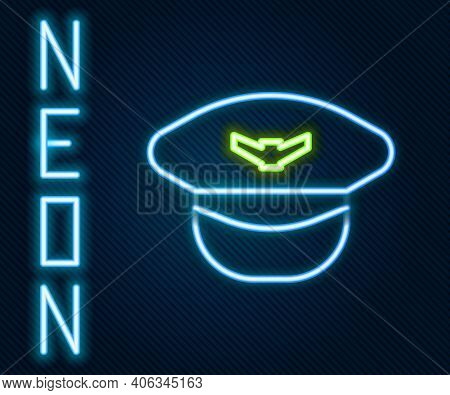 Glowing Neon Line Pilot Hat Icon Isolated On Black Background. Colorful Outline Concept. Vector Illu