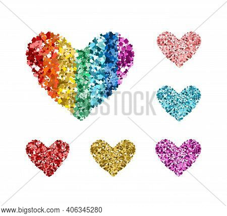 Set Of Colorful Glittering Hearts. Icons With Rainbow Colors Glitter Sequins On White For Valentine'