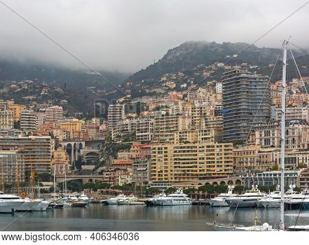 Luxury Yachts In Hercules Port Monaco Cityscape Winter