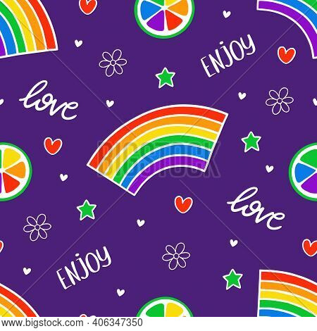 Never Ending Cute Pattern With Lgbt Rainbow, Hearts, Text, Stars, Fruit And Flowers. Gay Pride. Prid
