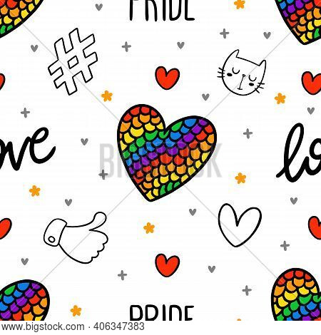 Never Ending Cute Seamless Pattern With Lgbt Rainbow, Hearts, Text, Hashtag, Like And Cat. Gay Pride
