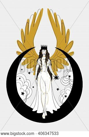 Mystical Goddess Woman Or Angel With Golden Wings, Divine Boho Design. Lunar Lady With A Star In Her