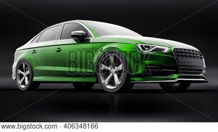 Super Fast Sports Car Color Green Metallic On A Black Background. Body Shape Sedan. Tuning Is A Vers