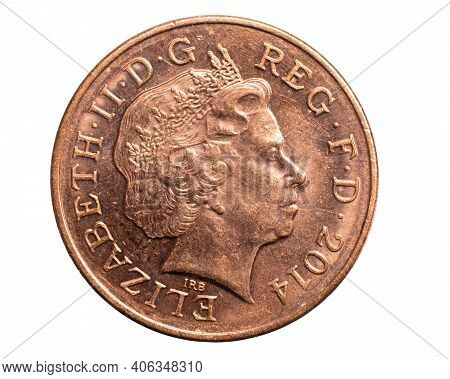 Two Pence Coin On A White Background