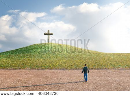 Man In The Desert Seeking Salvation By Faith In Jesus Christ Looking At The Cross. 3d Rendering