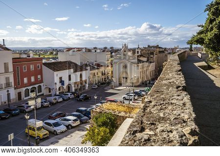 San Jose Square With Convent Next To Moorish Fortification In Badajoz, Spain
