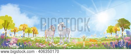 Unicorn And Cute Little Fairies Flying On Spring Filds With Wild Grass Flower,cute Cartoon Wonderlan
