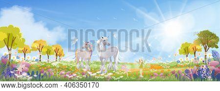 Unicorn And Cute Little Fairies Flying On Spring Filds With Wild Grass Flower,cute Cartoon Wonderlan