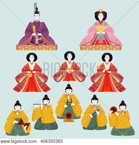 Japanese Hinamatsuri Festival (doll's Day Or Girls' Day). Set Of Ornamental Dolls. Vector Illustrati