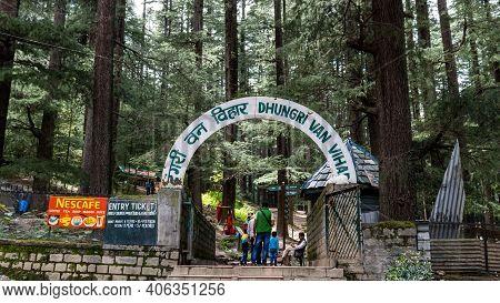 Manali, Himachal Pradesh - Aug 11, 2019 - Entrance To Dhungri Van Vihar Near Hadimba Temple