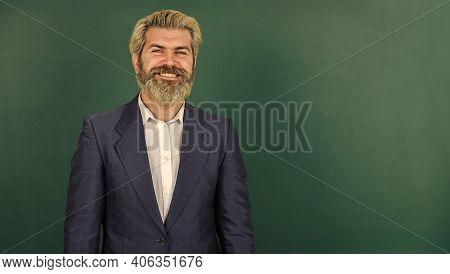 Teacher Explain Topic. Teachers Enlighten Path Of Success. Man Teacher In Front Of Chalkboard Copy S