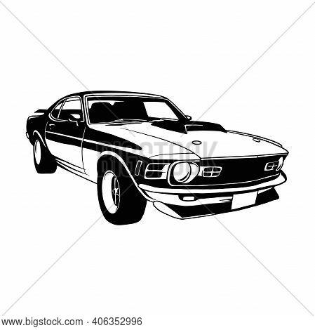 Sport Car, 1970 Muscle Car, Old Classic Retro Car, Stencil, Silhouette, Vector Clip Art Car For Tshi