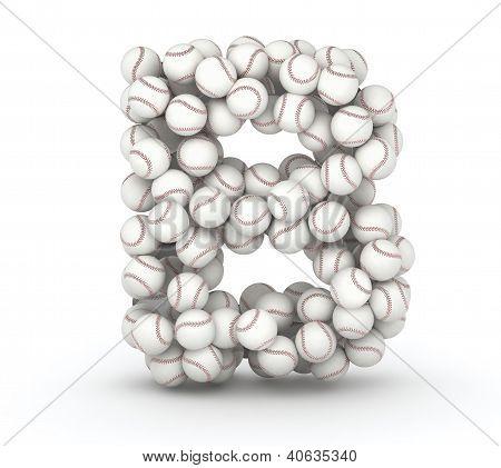 Letter B font of baseball balls on white background poster