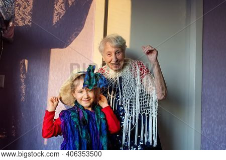 Happy Smiling Funny Senior Woman Wearing Beads Dancing