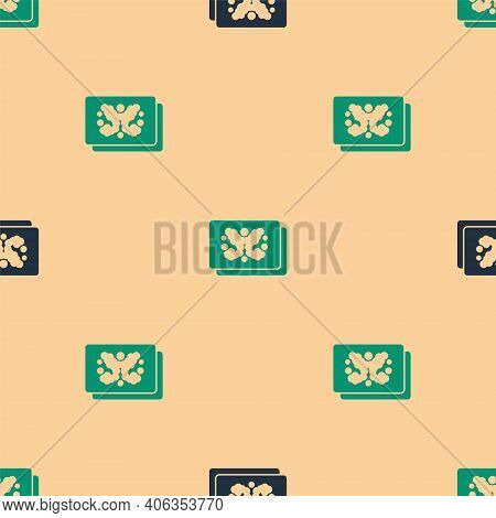 Green And Black Rorschach Test Icon Isolated Seamless Pattern On Beige Background. Psycho Diagnostic