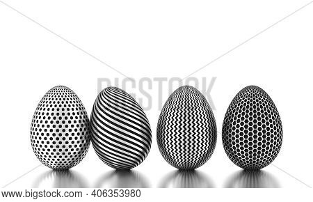 Row Of Silver Eggs On White. Business And Easter Concept. 3d Rendering