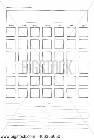 Vertical Template Blank Month Planner With Place For Notes. Hand Drown Sketch Doodle Vector Illustra