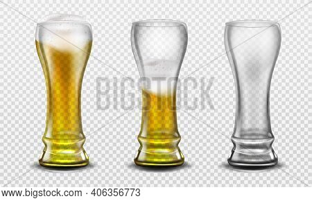 Tall Glass Full Of Beer, Half Full And Empty. Vector Realistic Set Of Clear Mug With Gold Frothy Dri