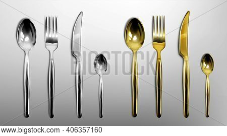 3d Cutlery Of Golden And Silver Color Fork, Knife, Spoon And Teaspoon. Silverware And Gold Utensil,