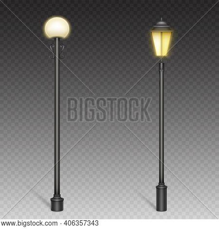Vintage Street Lights, Retro Lampposts On Steel Poles For Urban Lighting. City Architecture Design O