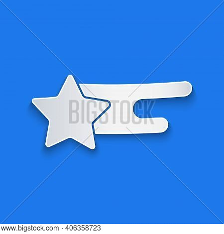 Paper Cut Falling Star Icon Isolated On Blue Background. Shooting Star With Star Trail. Meteoroid, M