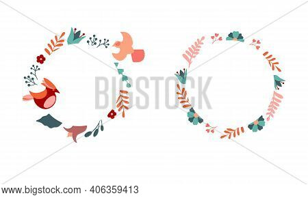 Collection Of Stock Frames With Birds And Flowers. Vector Decorative Round Frame With Stylised Flowe