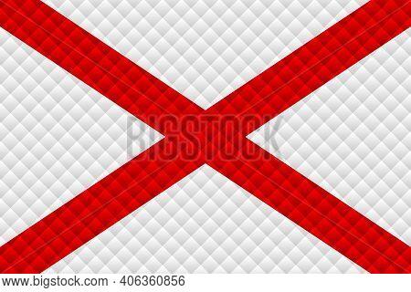 Mosaic Flag Of The Alabama - Illustration,  Three Dimensional Flag Of Alabama
