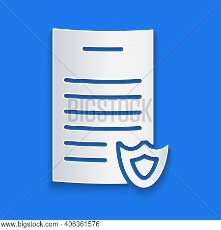 Paper Cut Firearms License Certificate Icon Isolated On Blue Background. Weapon Permit. Paper Art St