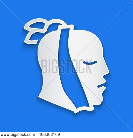 Paper Cut Toothache Icon Isolated On Blue Background. Paper Art Style. Vector