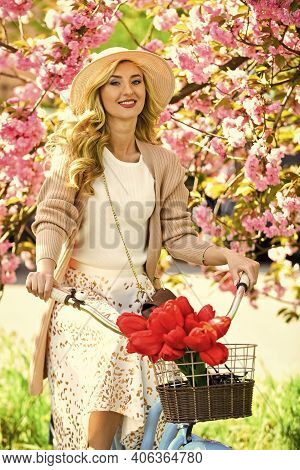 Hello. Cherry Tree Blooming Flowers. Pink Blossoming Sakura. Relax In Park. Fashion And Beauty. Woma