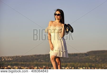 Summer Holidays. Girl In Sunglasses Copy Space. Towards Summer. Afterparty Concept. Woman Sunrise Ca