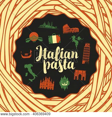 Vector Banner Or Background With Italian Landmarks In Colors Of Italian Flag On A Black Background F