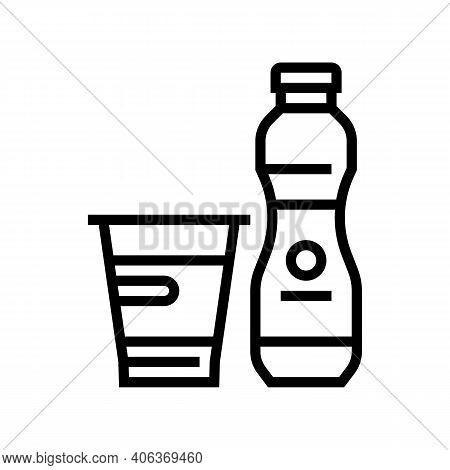 Yogurt Dairy Product With Probiotics Line Icon Vector. Yogurt Dairy Product With Probiotics Sign. Is