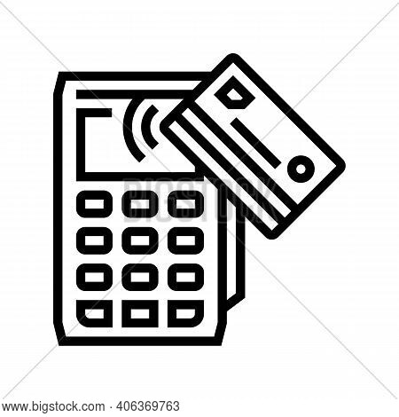 Card Contactless Pay Post Terminal Device Line Icon Vector. Card Contactless Pay Post Terminal Devic