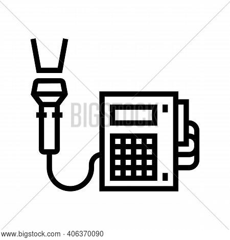 Barcode Scanner With Pos Terminal Line Icon Vector. Barcode Scanner With Pos Terminal Sign. Isolated