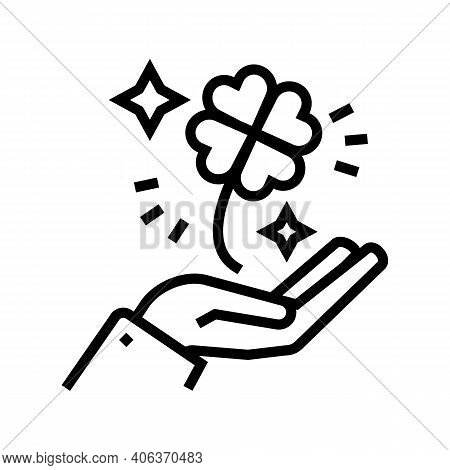 Clover For Luck Holding Hand Lotto Line Icon Vector. Clover For Luck Holding Hand Lotto Sign. Isolat