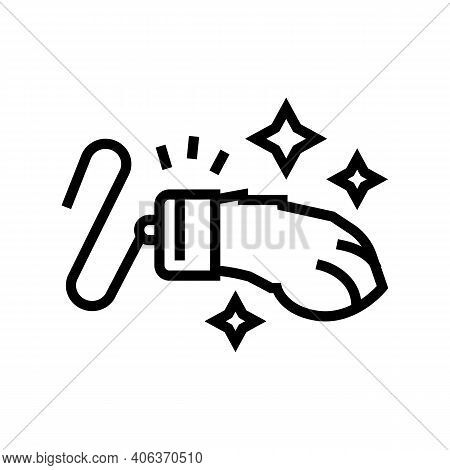 Rabbit Paw Luck Lotto Line Icon Vector. Rabbit Paw Luck Lotto Sign. Isolated Contour Symbol Black Il