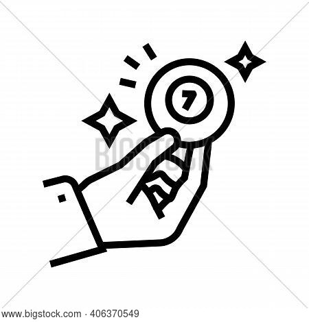 Hand Holding Lotto Ball With Won Number Line Icon Vector. Hand Holding Lotto Ball With Won Number Si