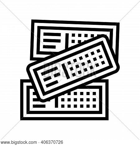 Tickets Lotto Line Icon Vector. Tickets Lotto Sign. Isolated Contour Symbol Black Illustration