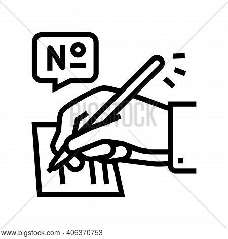 Filling Lotto Card Line Icon Vector. Filling Lotto Card Sign. Isolated Contour Symbol Black Illustra