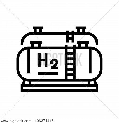 Tank Storaging Hydrogen Line Icon Vector. Tank Storaging Hydrogen Sign. Isolated Contour Symbol Blac