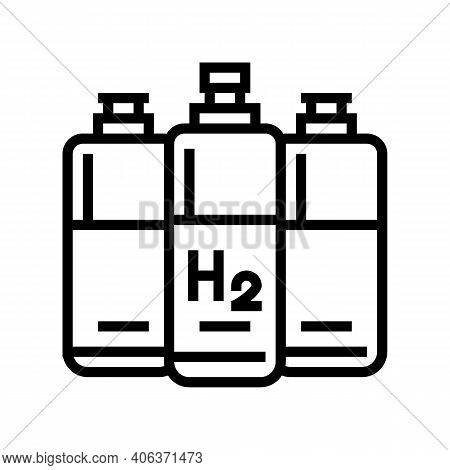 Cylinders Hydrogen Line Icon Vector. Cylinders Hydrogen Sign. Isolated Contour Symbol Black Illustra