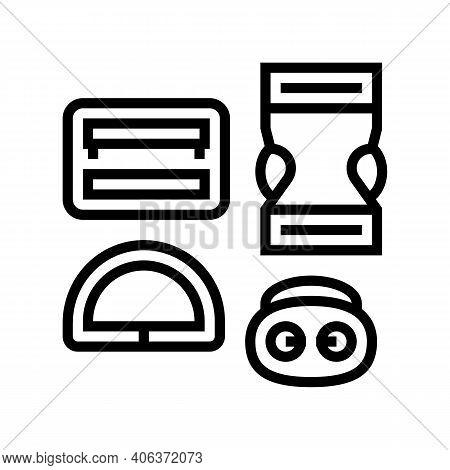 Buckles Clothes Accessories Line Icon Vector. Buckles Clothes Accessories Sign. Isolated Contour Sym