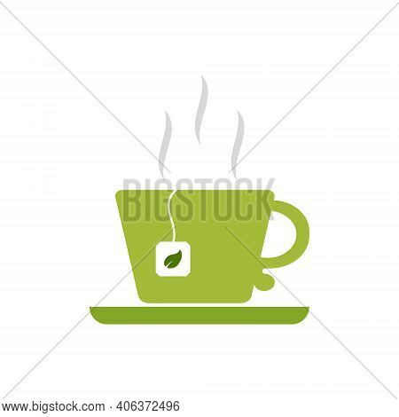 Green Cup And Saucer-flat Icon.a Mug With A Tea Bag And A Green Leaf. A Cup Of Steamed Green Tea.her
