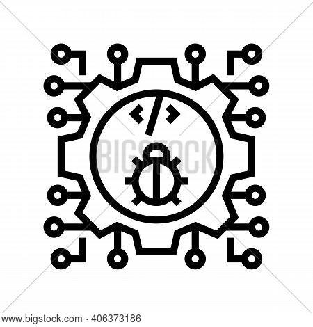 Development Debug Line Icon Vector. Development Debug Sign. Isolated Contour Symbol Black Illustrati