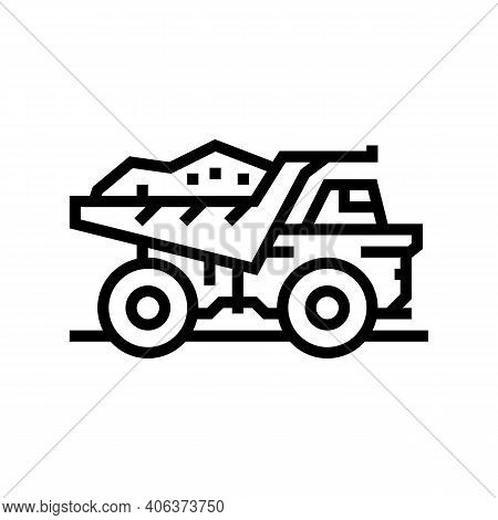 Dump Truck Stone Transportation Line Icon Vector. Dump Truck Stone Transportation Sign. Isolated Con