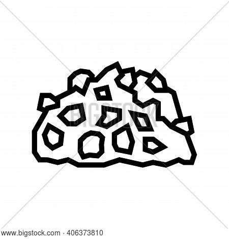 Gravel Stone Line Icon Vector. Gravel Stone Sign. Isolated Contour Symbol Black Illustration
