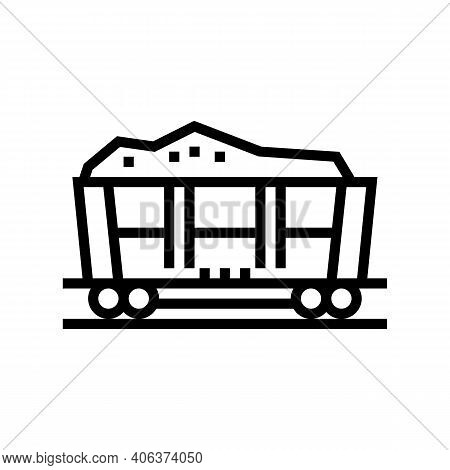 Railway Carriage Stone Line Icon Vector. Railway Carriage Stone Sign. Isolated Contour Symbol Black