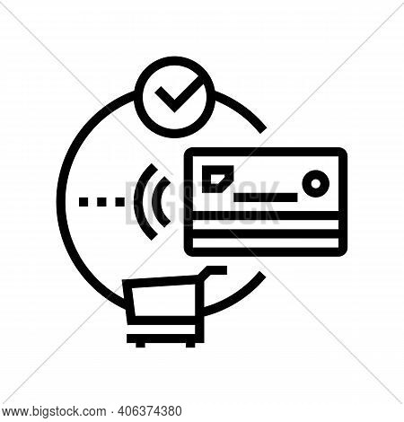 Contactless Payment With Credit Card Line Icon Vector. Contactless Payment With Credit Card Sign. Is
